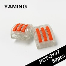 Transparent Terminal Block 3 pins Copper Wire connector Fast Conductor cable plug Universal Compact PCT-213T (50PCS)