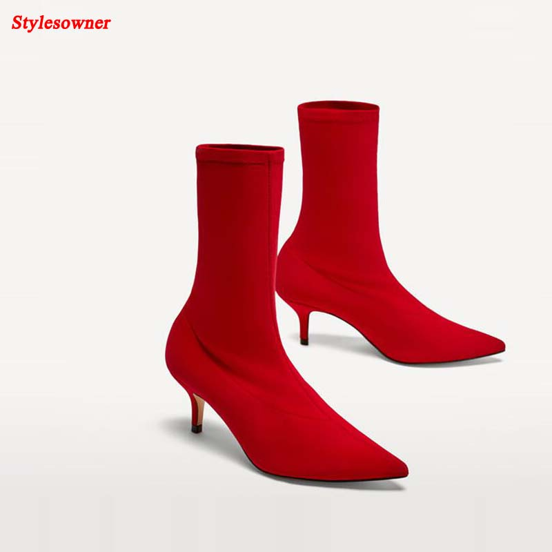 Stylesowner Lady Sexy Thin Heel Boots Stretch Lycra Fabric Women Pointed Toe Slip On Boots Red Wedding Shoe slip on winter boots stretch lycra