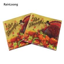 [RainLoong] Printed Feature Thanksgiving Paper Napkin Event & Party Tissue Decoupage Servilleta 33cm*33cm 20pcs/pack/lot