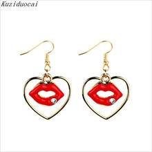 Kuziduocai 2017 New ! Fashion Fine Jewelry Gold Color Heart-shaped Flames  Red Lips Rhinestones Stud Earrings For Women Gifts E-2 ff71af1ceab2