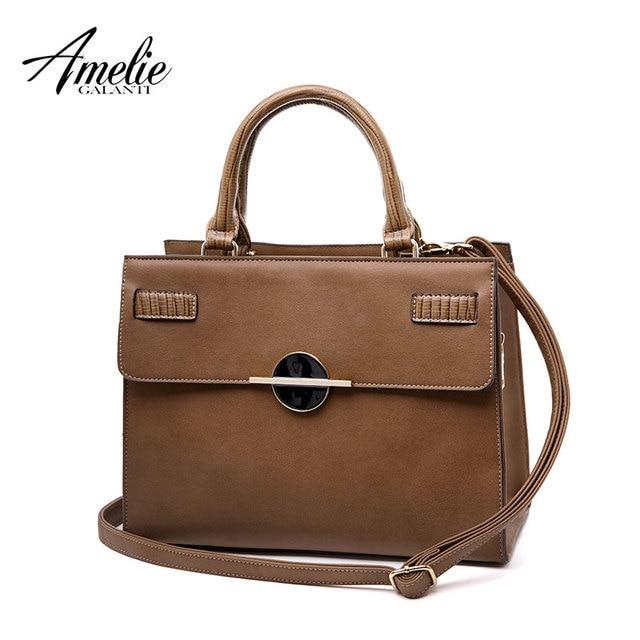 AMELIE GALANTI Leather Women Handbag Fashion Solid Women Crossbody Bags Hard PU Leather Lady Handbags Cell Phone Pockets Bags