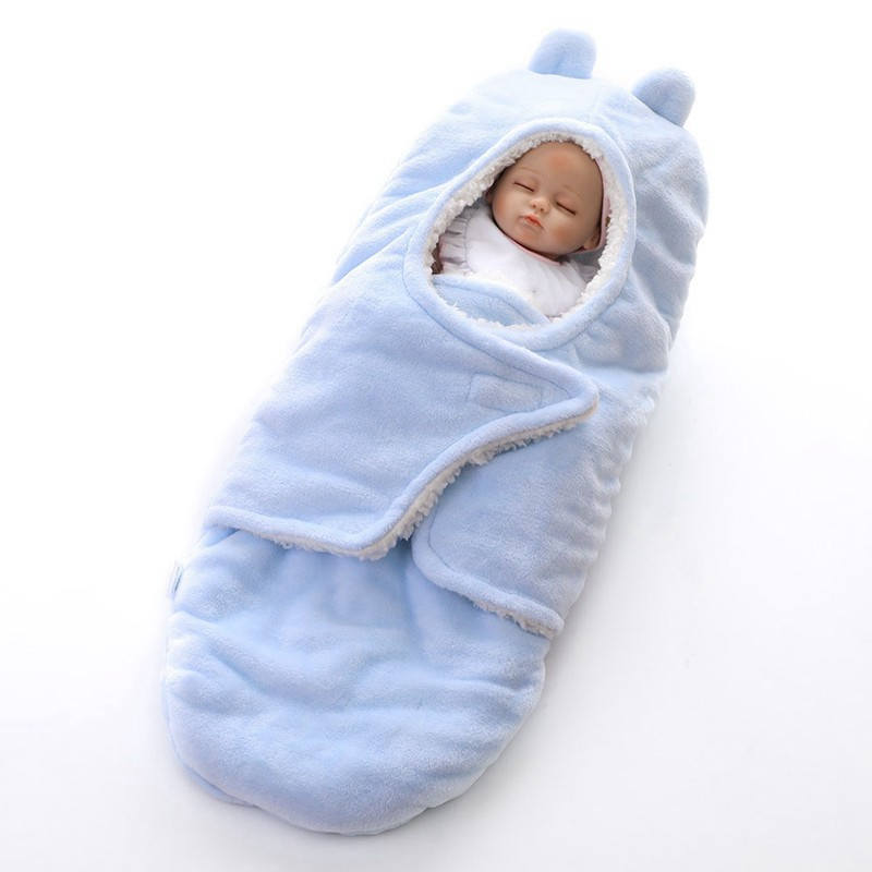 MOTOHOOD Winter New Baby Blankets Thicken Double Layer Coral Fleece Infant Swaddle Wrap Newborn Baby Bedding Blanket 0-12m (3)