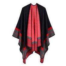 Женские зимние модные Пончо Накидки с капюшоном толстые теплые шарфы женская верхняя одежда шаль Хиджаб кашемировая бандана Cachecol