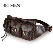 Retro Crazy Horse Genuine Leather Mens Fanny Waist Bag Travel Belt Loops Hip Bum Bag Wallet Purses Phone Pouch