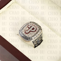 Team Logo Wooden Case 2008 PHILADELPHIA PHILLIES World Series Championship Ring 10 13 Size Solid Back