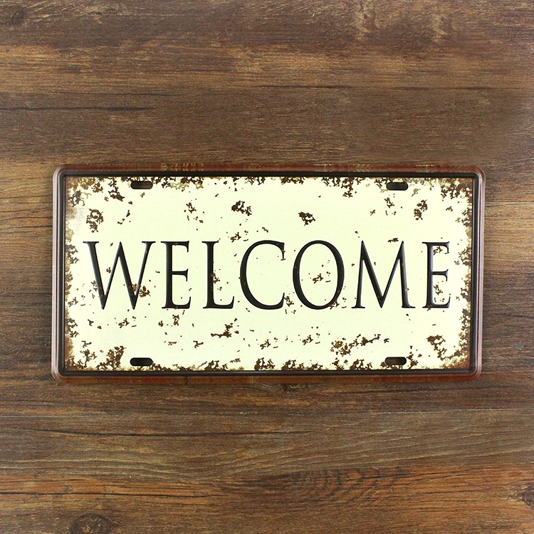 "Metal Signs For Home Decor: Top Fashion XDCP 277 Vintage License Plate ""WELCOME"" Tin"
