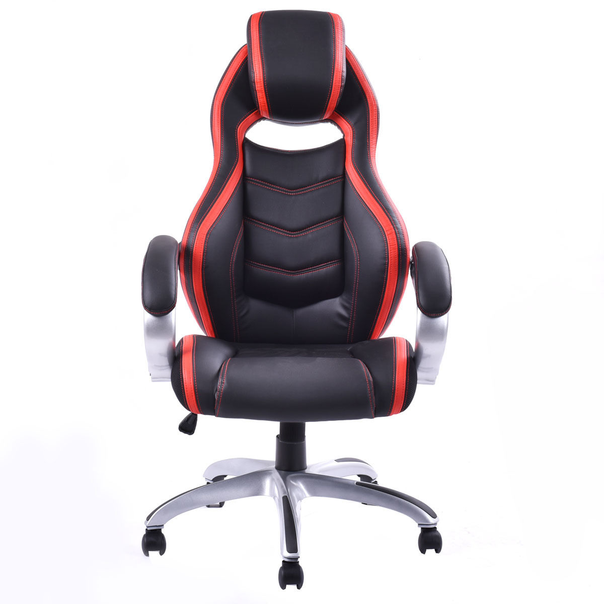 Giantex PU Leather High Back Racing Style Bucket Seat Gaming Chair With Head Pillow Modern Office Desk Computer Chairs HW52433 240340 high quality back pillow office chair 3d handrail function computer household ergonomic chair 360 degree rotating seat