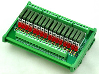 Slim DIN Rail Mount DC12V Source PNP 16 SPST NO 5A Power Relay Module PA1a 12V