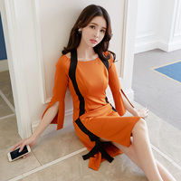 spring autumn women new design dress orange with black stripe sweet girl outfit vogue lady vestido dresses cute casual S XL