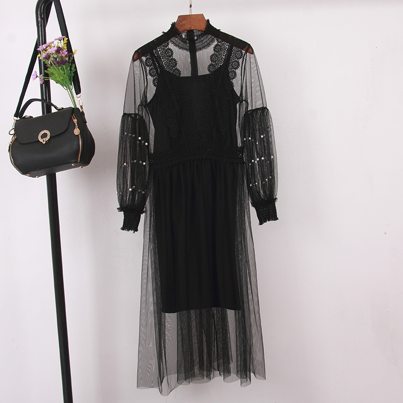 2019 New Summer Dress For Women Fashion O-Neck Long Sleeve Mesh Dresses Korean Style Casual Beading Midi Party Dress