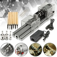 ALLSOME Mini Lathe Table Saw Polisher Cutting Machine Wood Working DIY Lathe Set with DC 24V Power Adapter HT1729