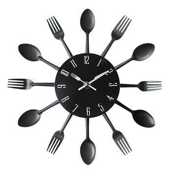 Cutlery Metal Kitchen Wall Clock Spoon Fork Creative Quartz Wall Mounted Clocks Modern Design Decorative Horloge Murale Hot Sale 7