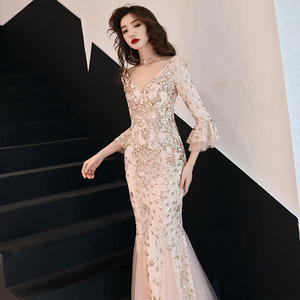 Image 4 - Champagne Evening Dress Gold Sequins Charming Formal Trumpet Party Gown V neck Flare Sleeve Long Black Mermaid Prom Dresses E063