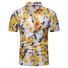 Polo Shirt Men Plant flower print Summer Tops Hawaiian beach style Short sleeves