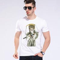 Fashion Japanese Design T shirt 2017 Newest Men Cat Warrior T-shirt Funny Warrior Print T-shirt Boy's Top Moe Cerf 2D-19#