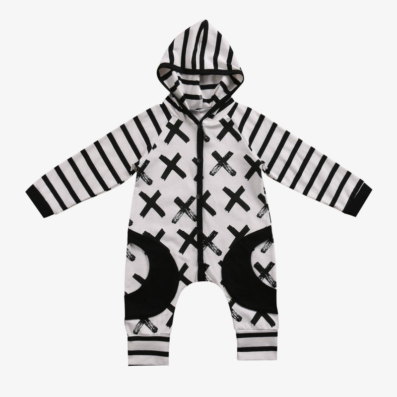 Autumn Newest Cotton Hooded Newborn Baby font b Boy b font Girl Clothes Print Long Sleeve