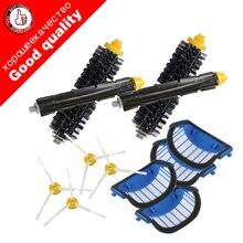 4 Blue AeroVac Filter+2 set main Brush kit+4side brush for iRobot Roomba 600 Series 620 630 650 660 accessory Replacment