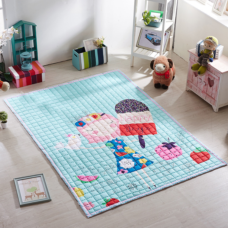Infant Shining Children Game Mat Thickening Baby Play Mats 100% Cotton Carpet Cartoon Large Rugs Living Room Bedroom Blanket