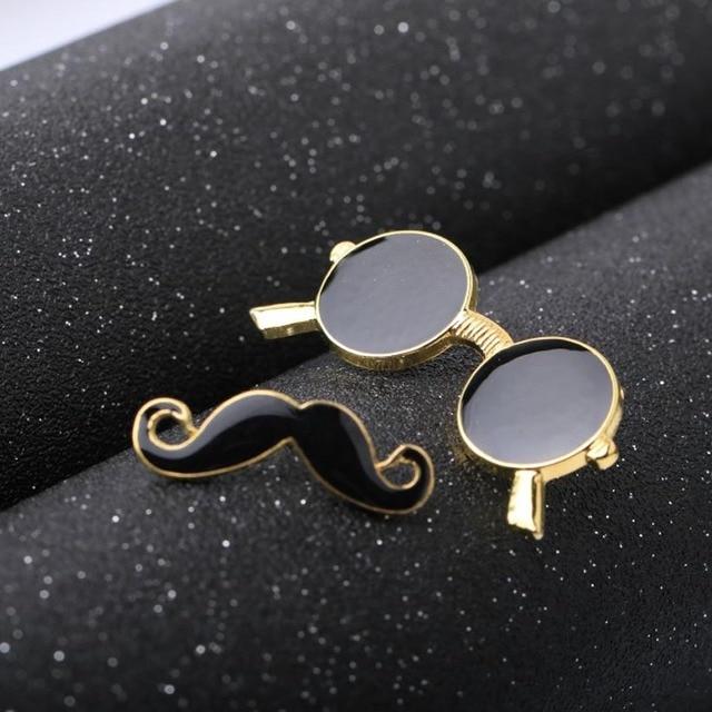 Vintage fashion jewelry lapel pin set - Beard Pipe, Glasses 1