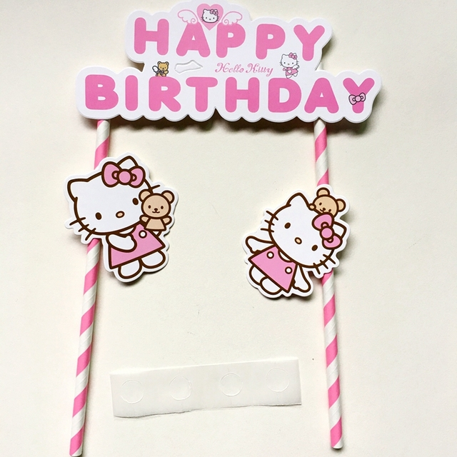 2pcs Hello Kitty Pink cupcake cake topper cake flags accessory baby