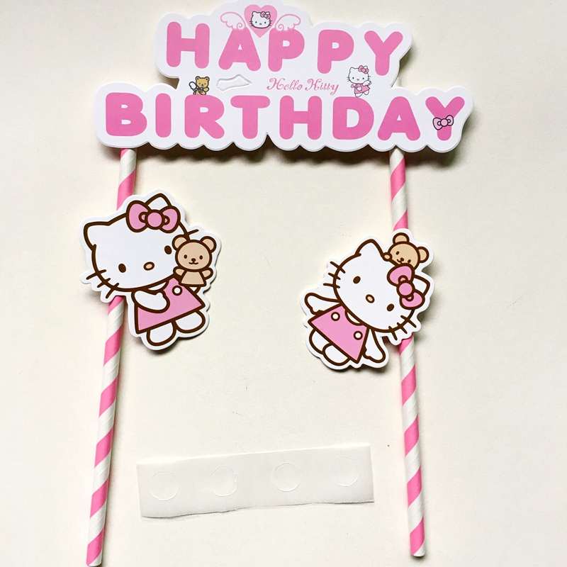 2pcs Hello Kitty Pink cupcake cake topper cake flags accessory baby shower children kid birthday party supplies party decoration