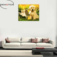 Okhotcn額装diy動物絵画数字で猫と犬キャンバス数字による家の装飾壁絵リビングルームアート