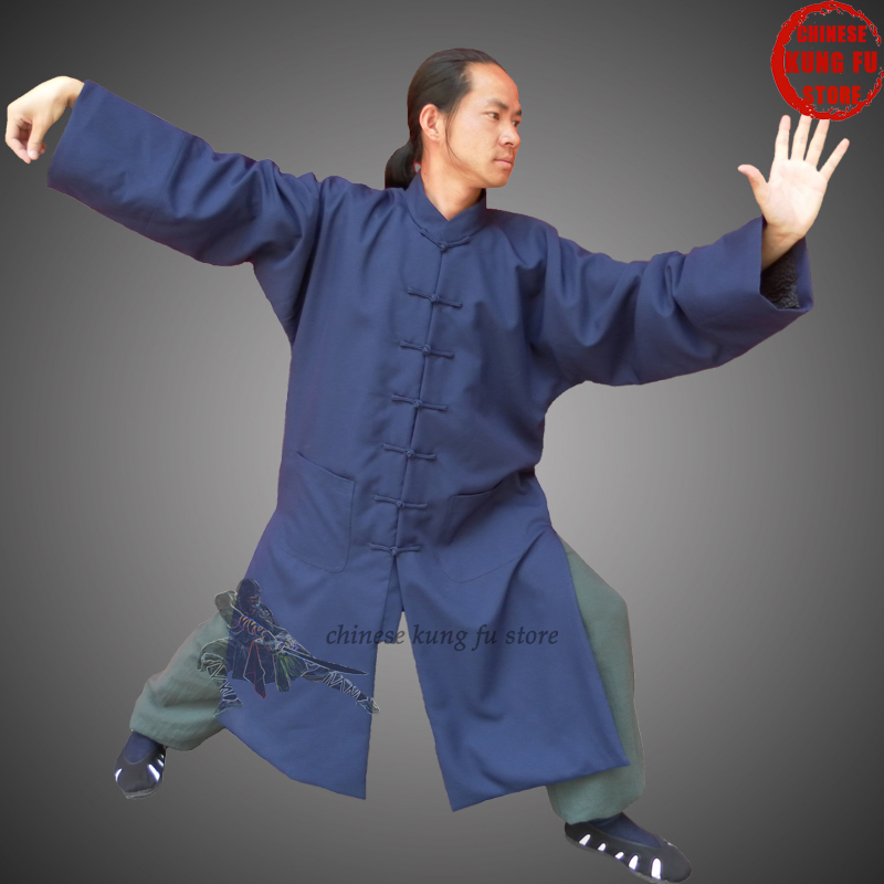 Custom Made Chinese Wudang Taoist Long Robe Beautiful Design With Many Handmade Buttons In The Front