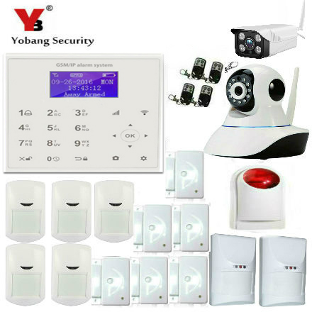 YobangSecurity Wireless Wifi Gsm Home Security Alarm System with Outdoor Indoor IP Camera Wireless Siren Smoke Fire Detector yobangsecurity gsm wifi gprs wireless home business security alarm system with wireless ip camera smoke fire dual motion sensor