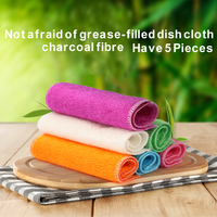 Have 5 Pieces Bamboo fiber dish towel Do not touch oil kitchen rags Water absorbent lint Korean brush cloth clean cloth RD602