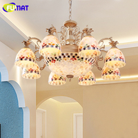 FUMAT Tiffany Style Chandeliers European Style Antique Lamp Natural Shell Colorful Shade Chandelier For Living Room LED Lamps