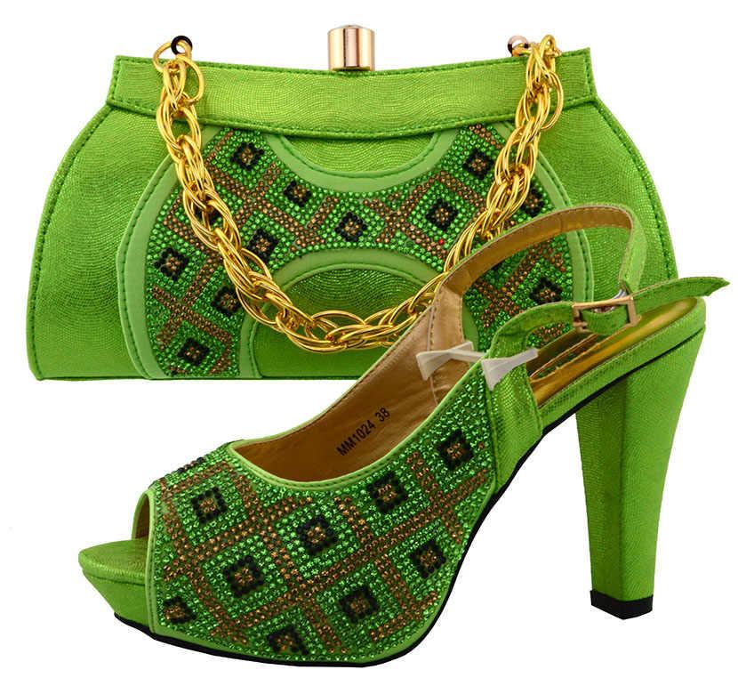Charming Africano scarpe e set borsa per il partito delle donne pompe tacco alto aperte le dita dei piedi scarpe da sera in verde MM1024