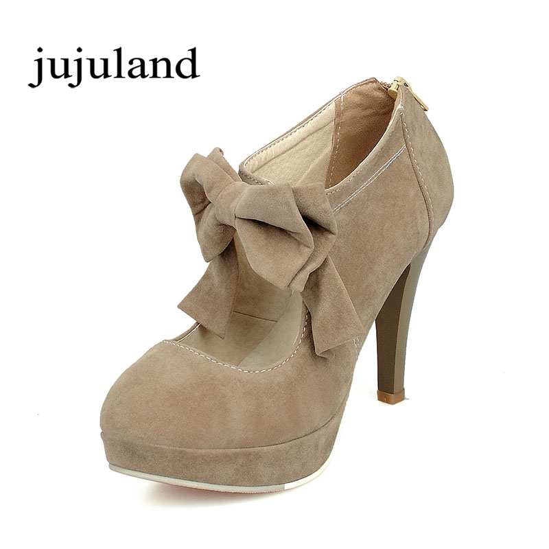 Spring/Autumn Women Shoes Pumps Mary Janes Flock Casual Fashion Sweet Thin Heels Round Toe Zip Butterfly-knot Solid Platform sweet loafers women heels shoes for spring women ballet shoes breathable heels shoes autumn shoes orientpostmark