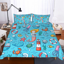 Bedding Set 3D Printed Duvet Cover Bed Mermaid Cartoon Home Textiles for Adults Lifelike Bedclothes with Pillowcase #ET01
