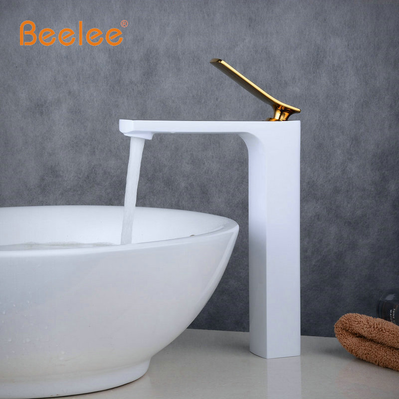 New Arrival Tap Mixer Torneira Bathroom Tapware Vanity Basin Faucet White Baked Faucet With Golden Finish Hot&Cold Water