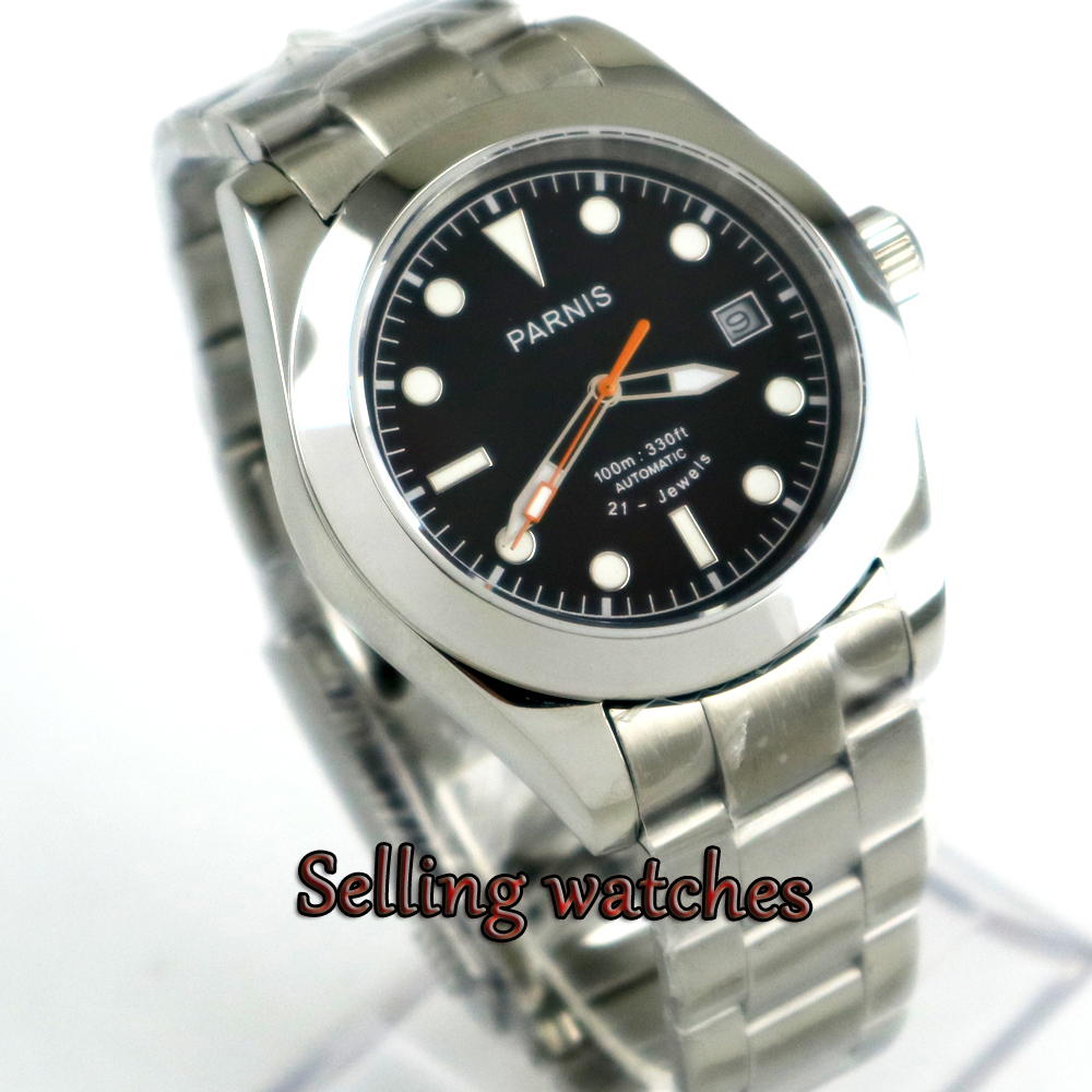 40mm Parnis black dial Men luminous Sapphire glass MIYOTA Automatic movement Men's watch цена