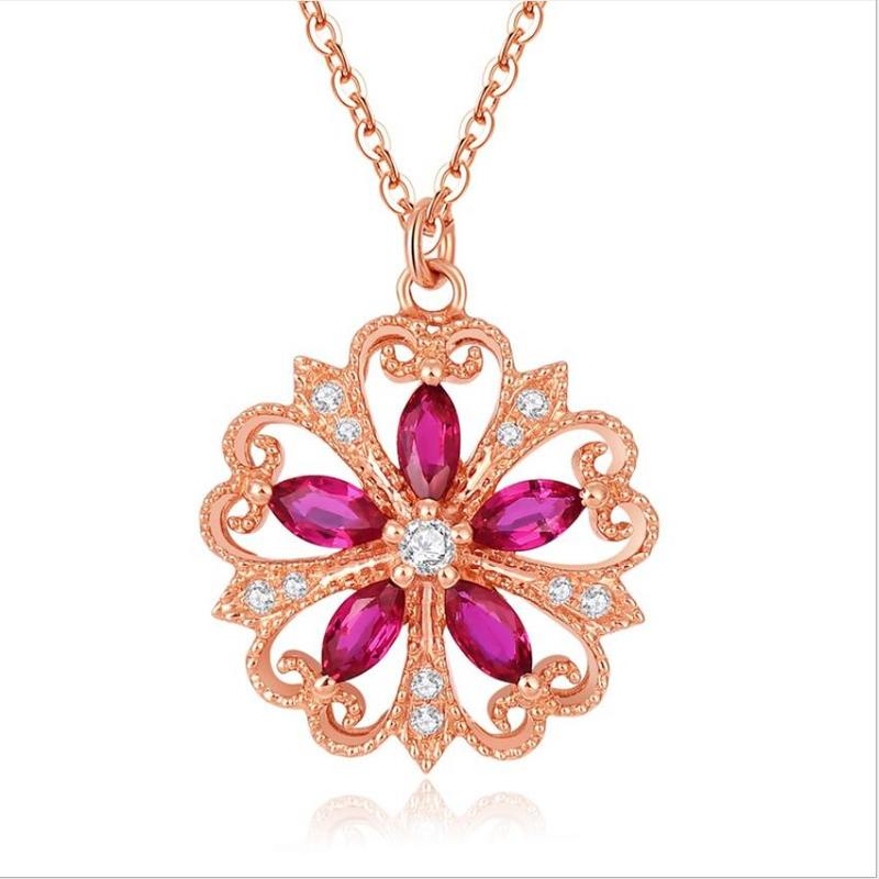 Everoyal Fashion Silver 925 Necklace For Girl Accessories Exquisite Crystal Flower Pendant Rose Gold Women Jewelry