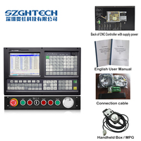 China gold English Panel 5 Axis CNC controller for milling and boring machine stepper servo G code PLC+ATC.