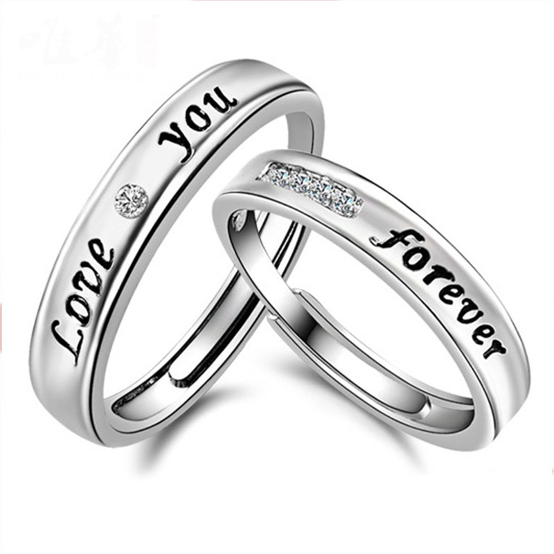 Fashion Fine Jewelry LOVE you eternity Zircon ring men and women couple models Silver plated ring opening women jewelry