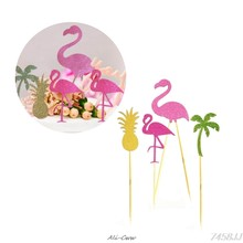 Flamingo Pineapple Palm Tree Cupcake Toppers Tropical Hawaii Beach Party Decor DropShip(China)