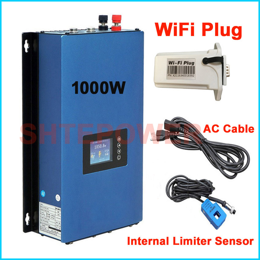 New updated 1000W Grid Tie Inverter with wifi plug MPPT Solar Power 1KW inverter +inter Limiter sensor 24v 48v DC AC 220V 230V grid on tie inverter 1000w 12v 24v solar panel system dc output 90 130v 190 260v with mppt function