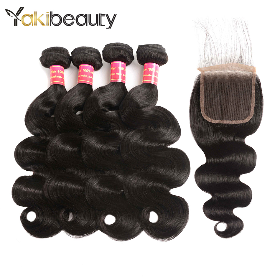 Brazilian Hair Weave 4 Bundles With Closure Remy Human Hair Body Wave Bundles With Closure Free/Middle/Three Part Yakibeauty