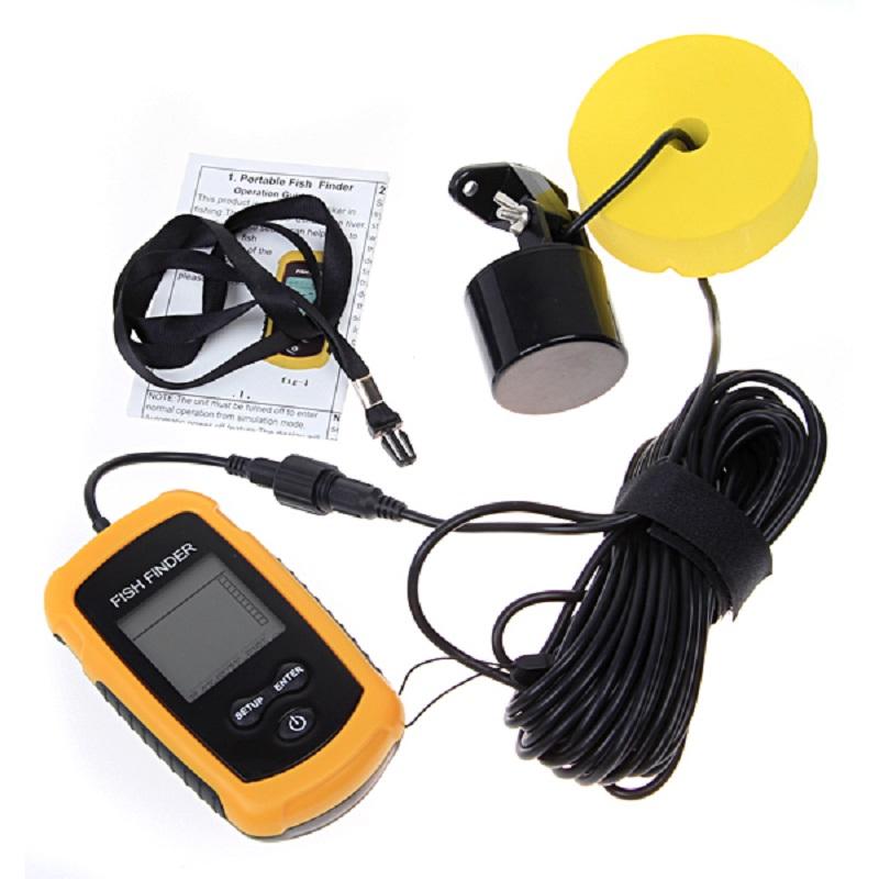 Prix pour Portable fish finder sonar Sondeur profondeur Alarme Capteur Sondeur 0.7-100 m de pêche sondeur avec Anglais Affichage