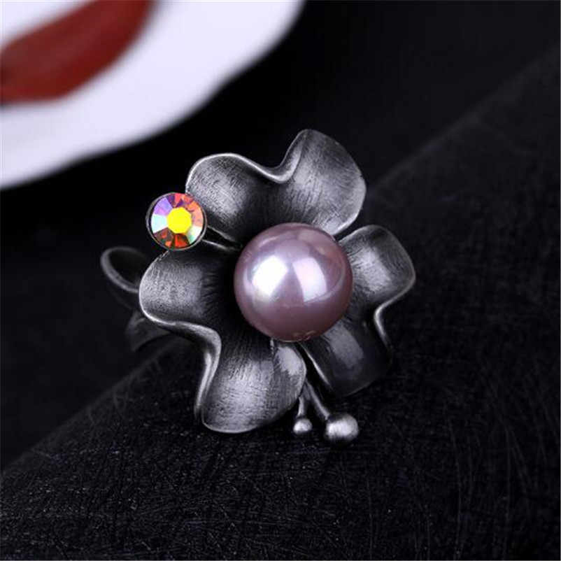 ADOLPH Star Jewelry Big Simulated Pearl Rings Antique Silver Color Gray Crystal Hollow Flower Ring For Women Jewelry 2018 New