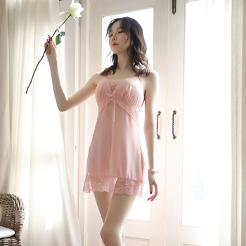 Women Sleep Lounge Sleepwear Sexy Ladies Nightgown Night Dress Elegant Lace Home Clothes Babydoll PINK ROSE