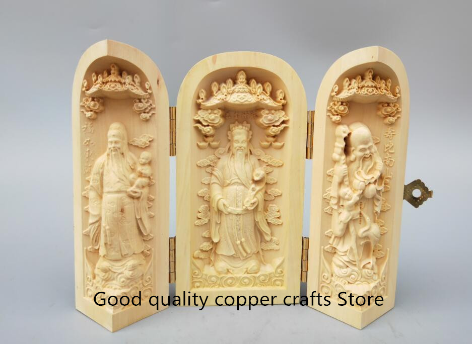 China Handwork Wood Carving The Fu Lu Shou God Buddha Statue