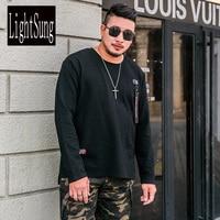 2018 New Lists Spring Long Sleeve Black Plus Size Plus Size Tshirt Loose Quality Soft Men