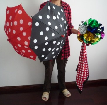 Polka Dot Silk & Umbrella Sets Magic Tricks Magician Stage Illusion Gimmick Mentalism Scarve Appear Umbrella Flower Ball Magia