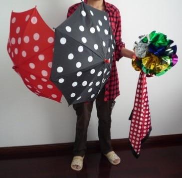 Polka Dot Silk Umbrella Sets Magic Tricks Magician Stage Illusion Gimmick Mentalism Scarve Appear Umbrella Flower