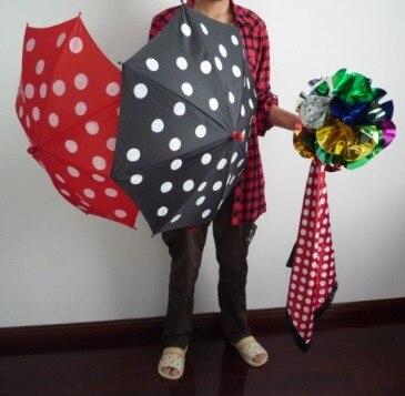 Polka Dot Soie & Parapluie Définit Tours de Magie Magicien Scène Illusion Gimmick Mentalisme Scarve Apparaissent Parapluie Fleur Boule Magia