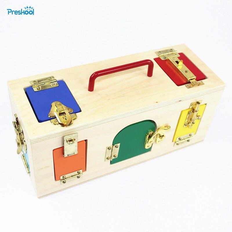 Bébé jouet Montessori coloré serrure boîte éducation de la petite enfance préscolaire formation enfants Brinquedos Juguetes